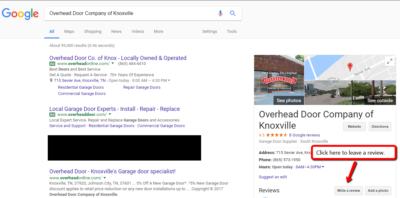 Adding A Review On Google Overhead Door Knoxvilles Garage Search For  Overhead Door Company Of Knoxville
